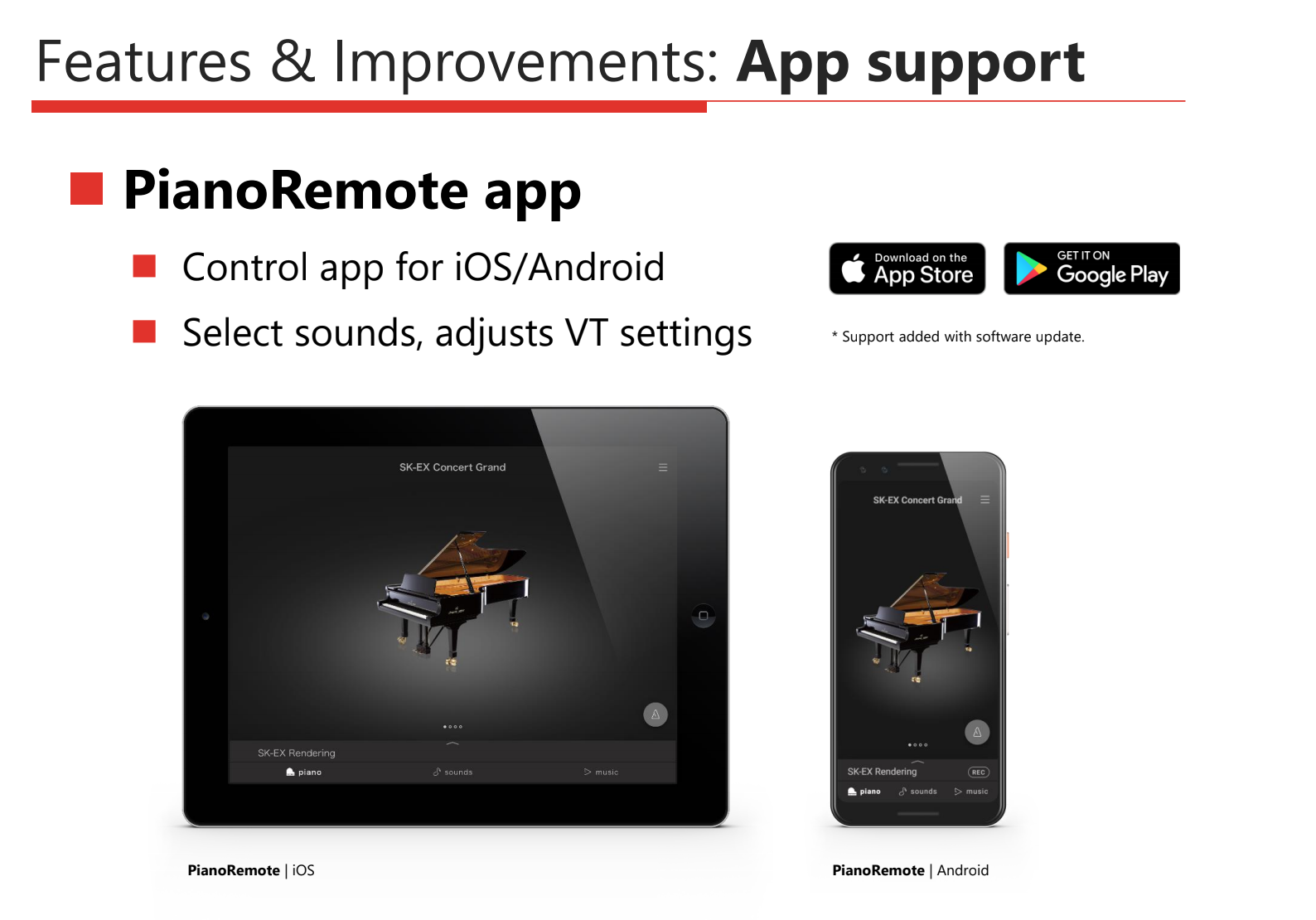 Select and adjust sounds wirelessly for the Kawai CA49 and CA59 digital pianos with the PianoRemote iOS/Android app